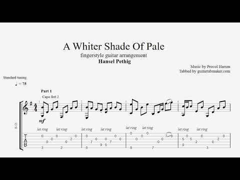 A Whiter Shade Of Pale TAB - fingerstyle guitar tab (PDF + Guitar Pro)