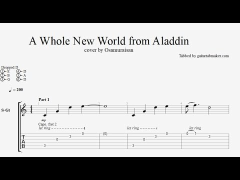 A Whole New World TAB - acoustic fingerstyle guitar tab (PDF + Guitar Pro)