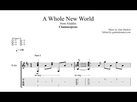 A Whole New World TAB - fingerstyle classical guitar tabs (PDF + Guitar Pro)