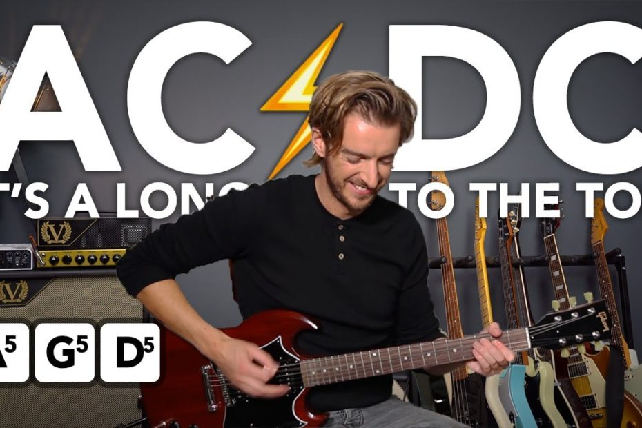 AC/DC - Long Way To The Top Guitar lesson tutorial - Easy 3 chord Rock song