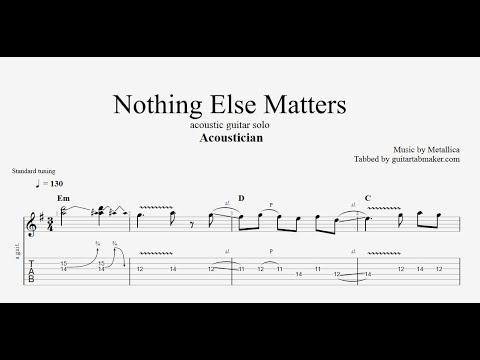 Acoustician - Nothing Else Matters solo TAB - acoustic guitar solo tabs (PDF + Guitar Pro)