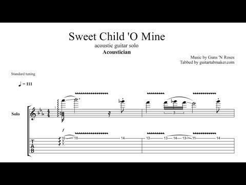 Acoustician - Sweet Child 'O Mine solo TAB - acoustic guitar solo tab (PDF + Guitar Pro)