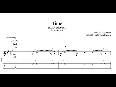 Acoustician - Time solo TAB - acoustic guitar solo tabs (PDF + Guitar Pro)