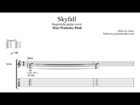 Adele - Skyfall TAB - fingerstyle guitar tab (PDF + Guitar Pro)