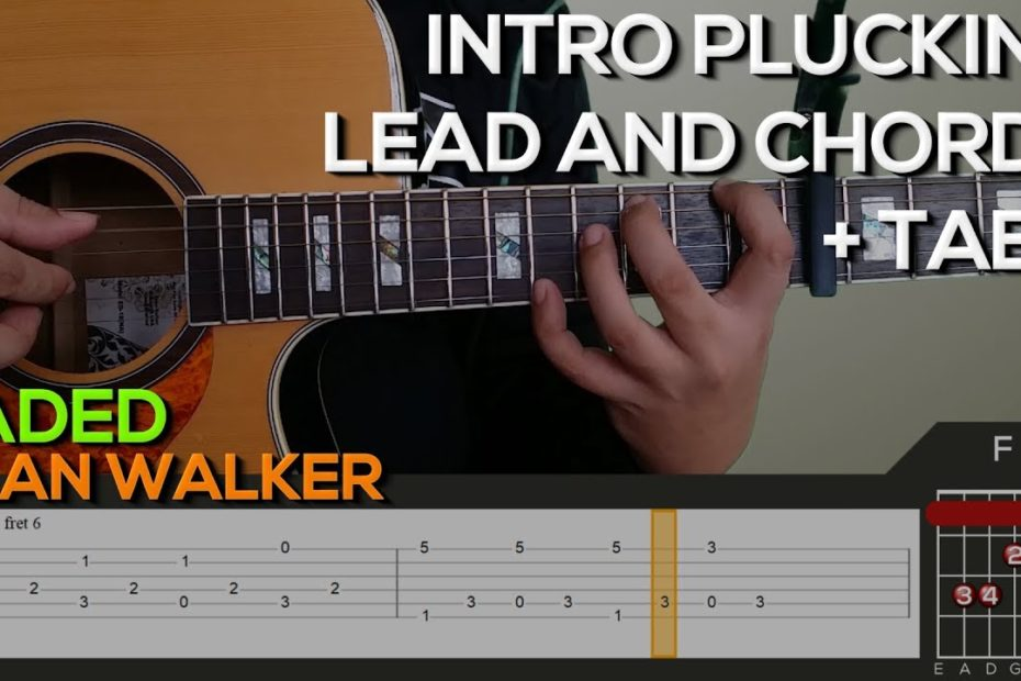 Alan Walker - Faded Guitar Tutorial [INTRO PLUCKING, LEAD AND CHORDS + TABS]