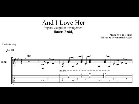 And I Love Her TAB - acoustic fingerstyle guitar tab (PDF + Guitar Pro)