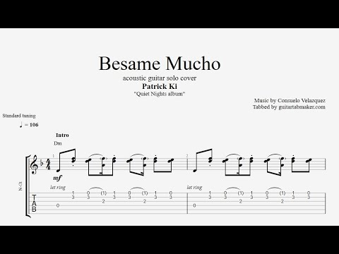 Besame Mucho TAB - instrumental acoustic guitar tabs (PDF + Guitar Pro)