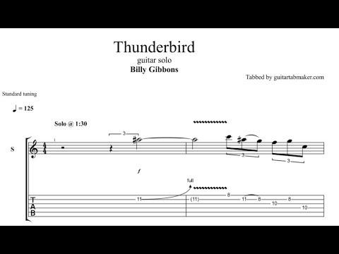 Billy Gibbons - Thunderbird solo TAB - guitar solo tab - PDF - Guitar Pro