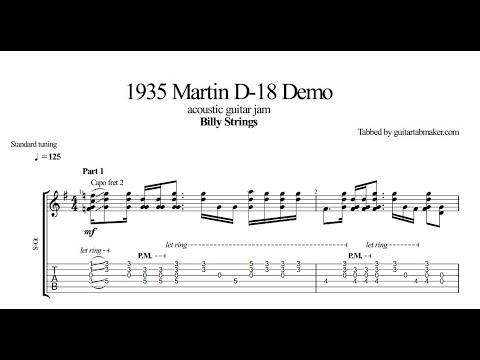 Billy Strings 1935 Martin D-18 Guitar Demo TAB - acoustic guitar tabs (PDF + Guitar Pro)