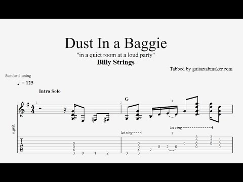 Billy Strings - Dust in a Baggie TAB (intro) acoustic guitar solo tabs (PDF + Guitar Pro)