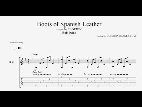 Boots of Spanish Leather TAB - acoustic fingerpicking guitar tab - PDF - Guitar Pro