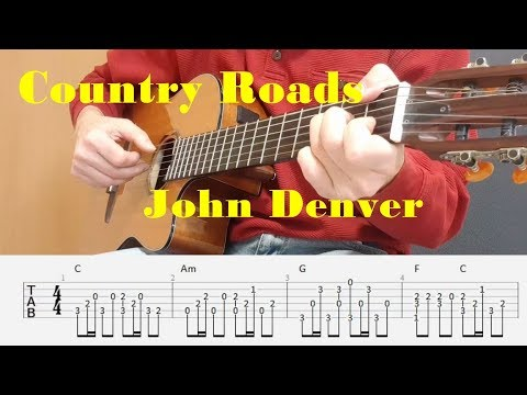 Country Roads - John Denver - Fingerstyle guitar with tabs