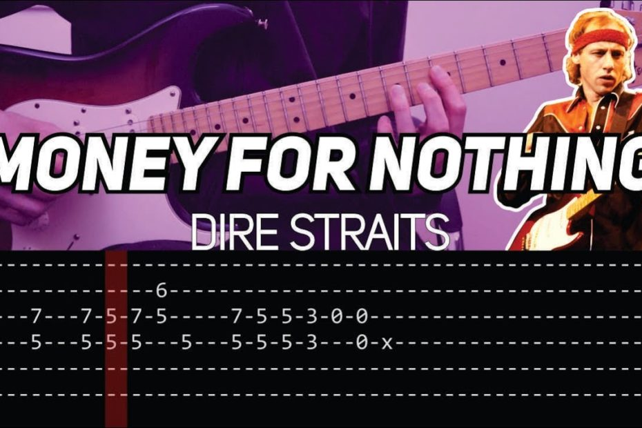 Dire Straits - Money for nothing intro + Live solo (Guitar lesson with TAB)