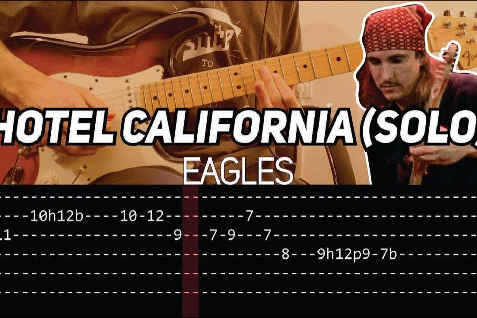 Eagles - Hotel California solo (Guitar lesson with TAB)