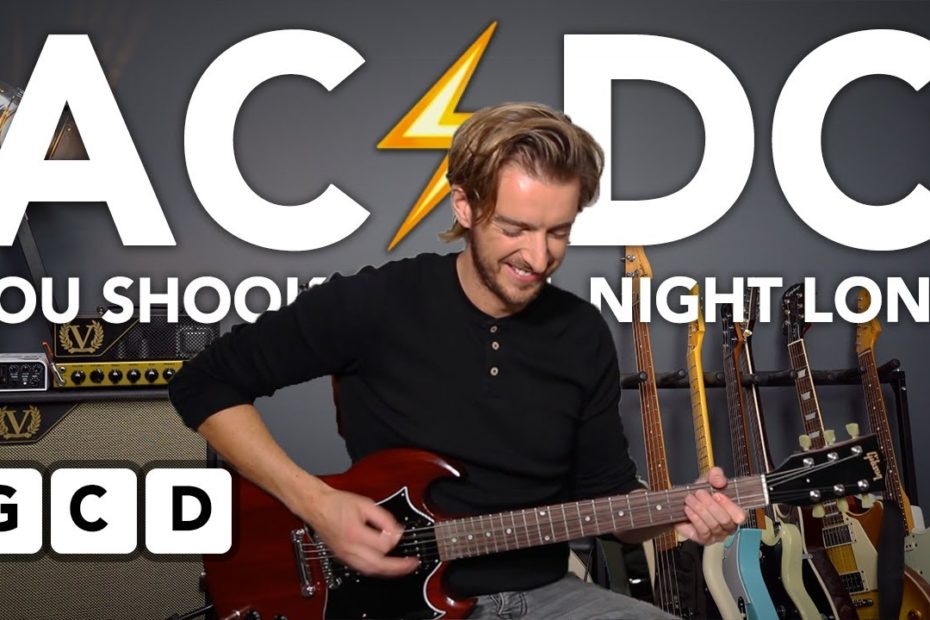"""EASY 3 CHORD SONG - AC/DC """"You Shook Me All Night Long"""" Guitar lesson tutorial"""