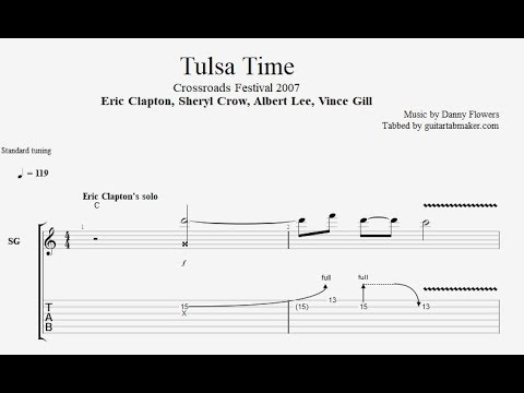 Eric Clapton - Tulsa Time solo TAB - live at Crossroads 2007 - PDF - Guitar Pro