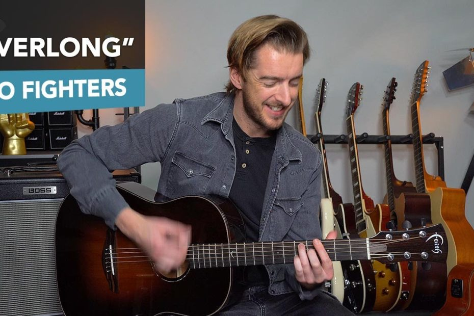 """""""Everlong"""" Acoustic Guitar Lesson Tutorial (Foo Fighters) Dave Grohl"""