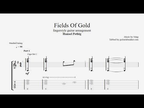Fields Of Gold TAB - acoustic fingerstyle guitar tabs (PDF + Guitar Pro)