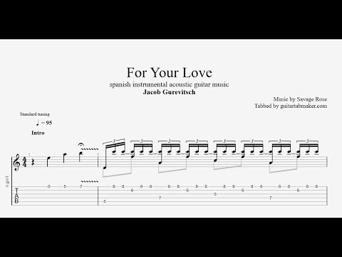 For Your Love TAB - acoustic instrumental guitar tabs (PDF + Guitar Pro)