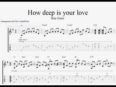 [Free Tab] How Deep Is Your Love - Bee Gees - Fingerstyle Guitar