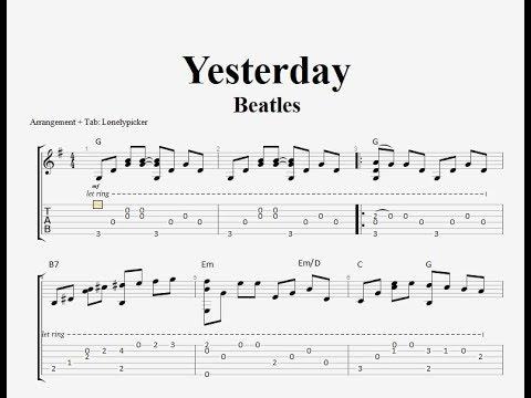 [Free Tab] Yesterday - Beatles - Fingerstyle Guitar