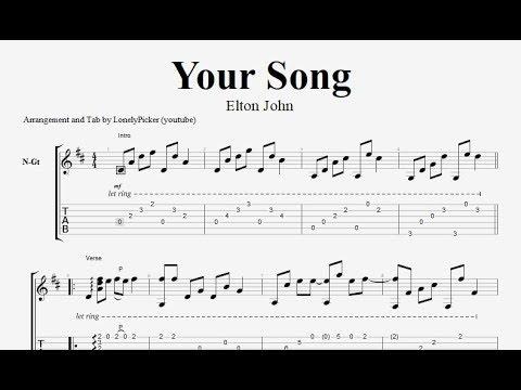 [Free Tab] Your song - Elton John - Fingerstyle Guitar