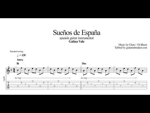 Galina Vale - Suenos de Espana TAB - instrumental spanish guitar tabs (PDF + Guitar Pro)