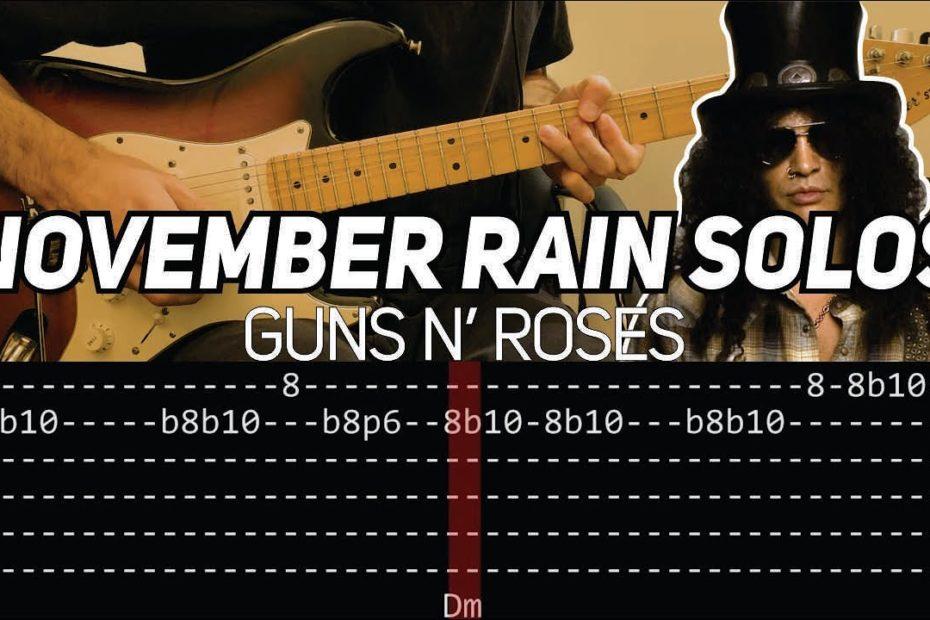Guns N' Roses - November Rain solos (Guitar lesson with TAB)