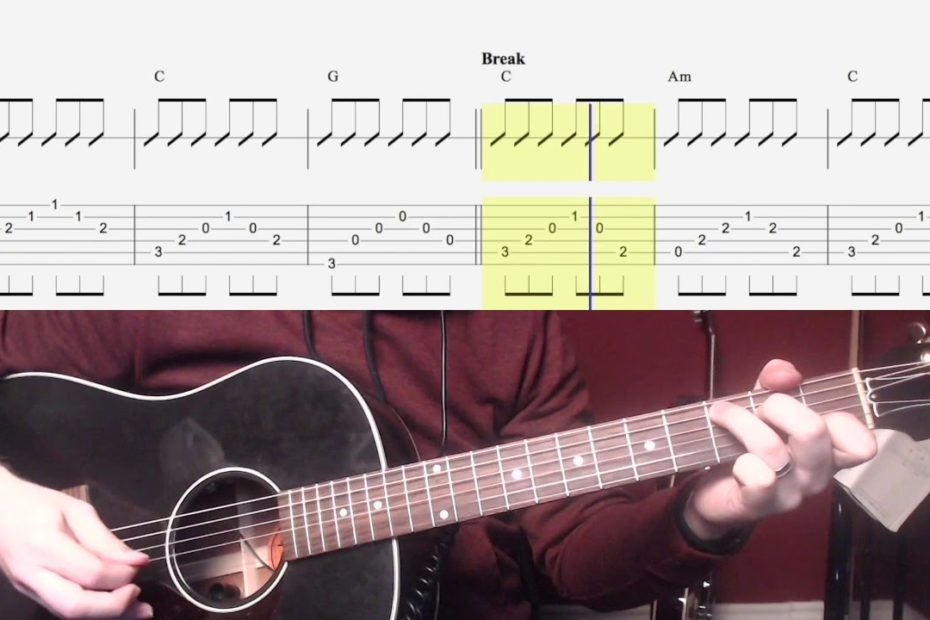 Hallelujah Easy Chords Guitar Tab and Play Along (Picking)