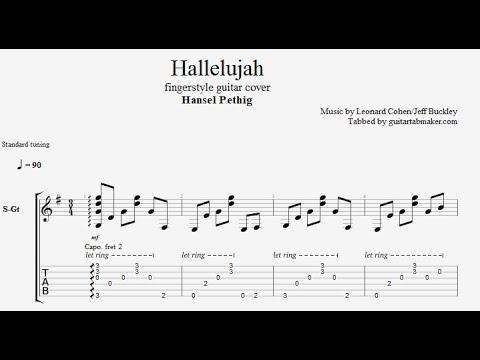 Hallelujah TAB - easy fingerstyle guitar tab (PDF + Guitar Pro)