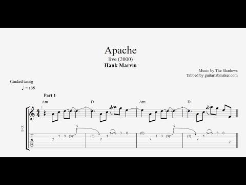 Hank Marvin - Apache TAB (live) - vintage instrumental guitar tabs (PDF + Guitar Pro)