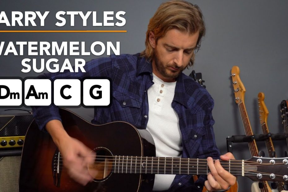 Harry Styles 'Watermelon Sugar' acoustic guitar lesson - 4 chord song!