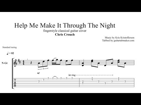 Help Me Make It Through The Night TAB - fingerstyle guitar tab (PDF + Guitar Pro)