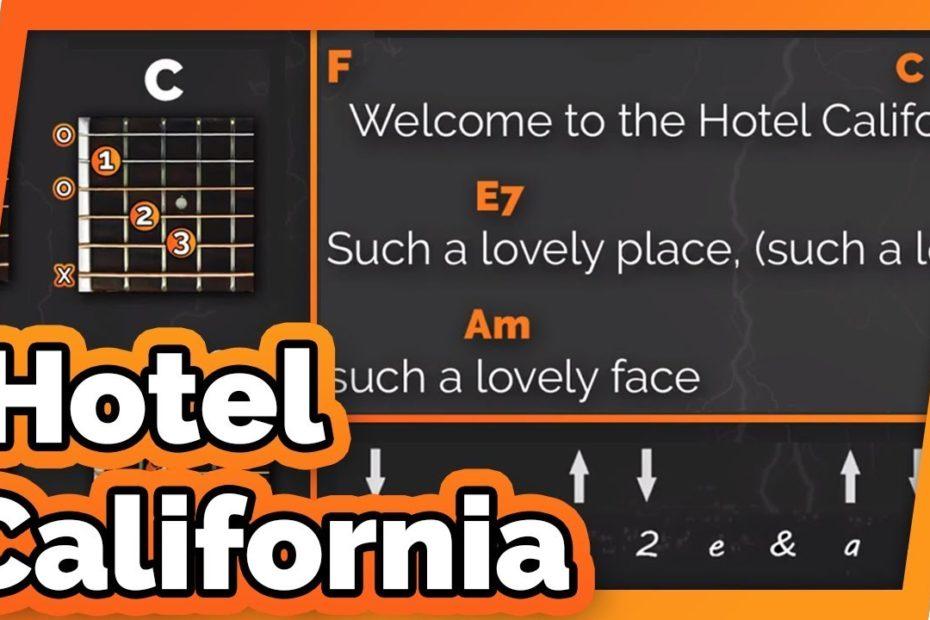 Hotel California - The Eagles - Play Along / Guitar Karaoke (Easy Chords)