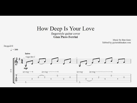 How Deep Is Your Love TAB - fingerstyle guitar tabs (PDF + Guitar Pro)