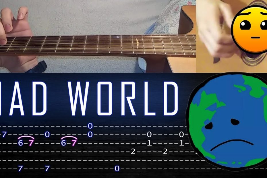 How to play 'Mad World' Guitar Tutorial [TABS] Fingerstyle
