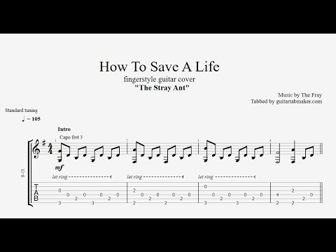 How To Save A Life TAB - acoustic fingerstyle guitar tabs (PDF + Guitar Pro)
