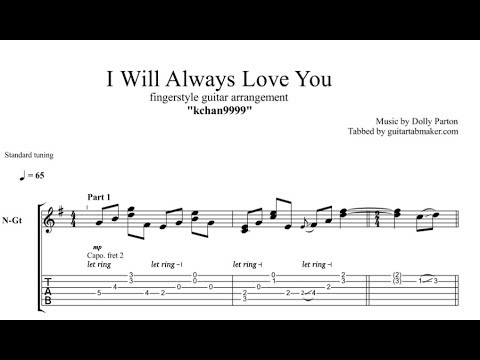 I Will Always Love You TAB - fingerstyle guitar tab (PDF + Guitar Pro)