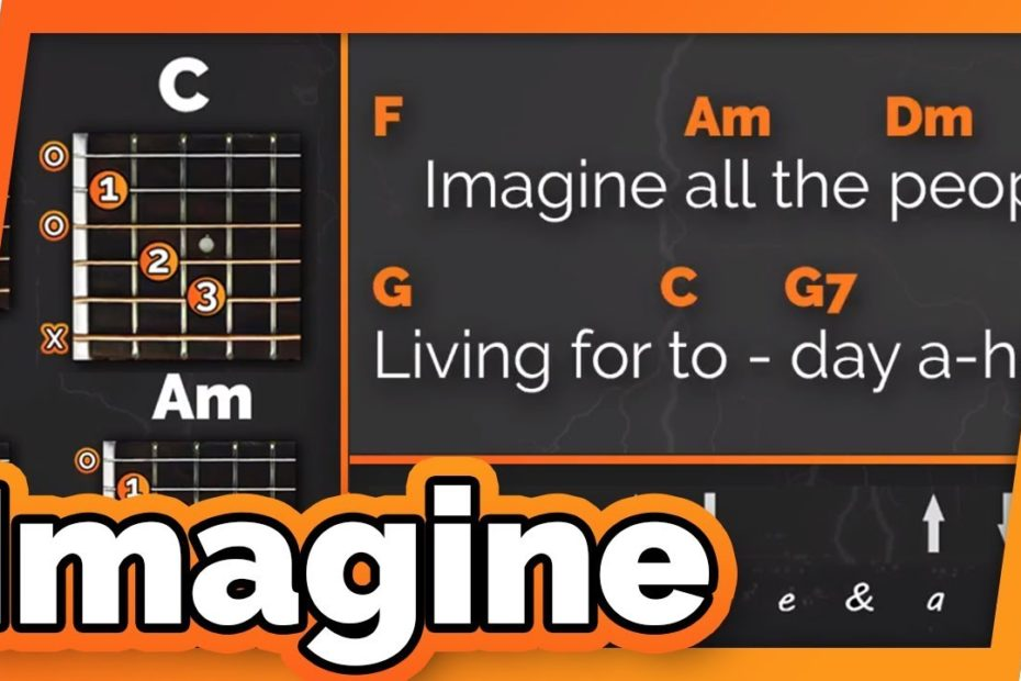 Imagine - John Lennon - Play Along / Guitar Karaoke // Easy Chords