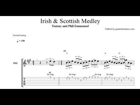 Irish Scottish Medley TAB - Tommy and Phil Emmanuel - acoustic guitar solo tab - PDF - Guitar Pro