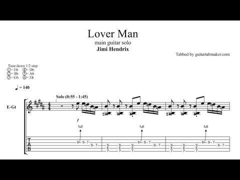 Jimi Hendrix - Lover Man solo TAB - guitar solo tabs (Guitar Pro)
