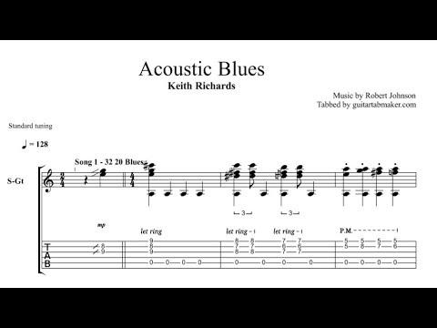 Keith Richards - Acoustic Blues TAB - fingerpicking acoustic guitar tab (PDF + Guitar Pro)