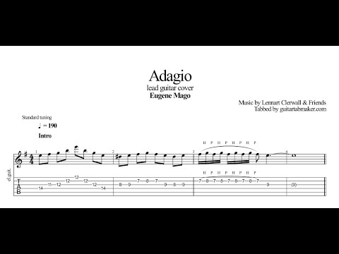 Lennart Clerwall - Adagio TAB - vintage guitar tabs (PDF + Guitar Pro)