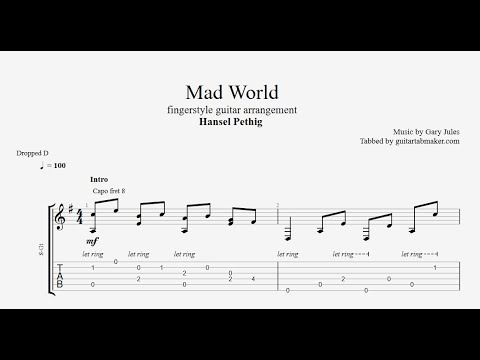 Mad World fingerstyle TAB - fingerstyle guitar tabs (PDF + Guitar Pro)