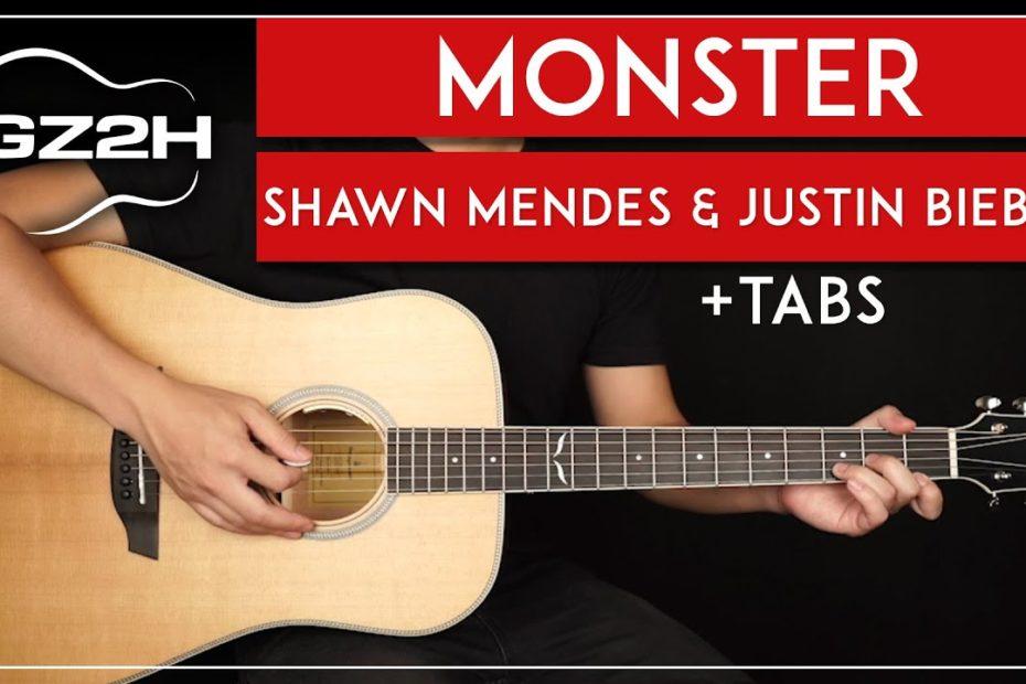 Monster Guitar Tutorial Shawn Mendes Justin Bieber Guitar Lesson |No Capo|
