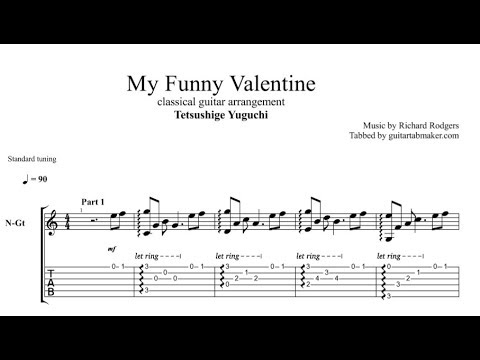 My Funny Valentine TAB - fingerstyle classical guitar tab - PDF - Guitar Pro