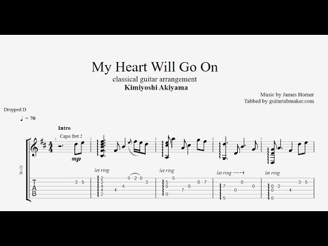 My Heart Will Go On TAB - fingerstyle classical guitar tabs (PDF + Guitar Pro)