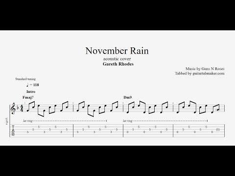 November Rain acoustic TAB - acoustic fingerpicking guitar tabs (PDF + Guitar Pro)