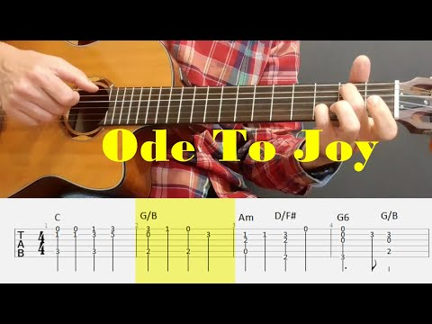 Ode To Joy - Beethoven - Fingerstyle Guitar Tutorial Tab