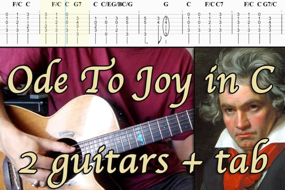 ODE TO JOY in C - Original Harmonies (2 Guitars + TAB)